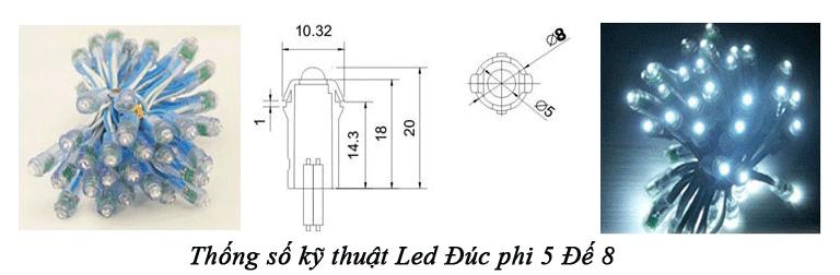 Thông số kỹ thuật Led Đúc F5 đế 8